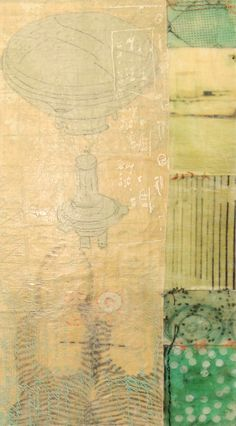 "Mixed media on panel 12"" x 4"" resin, silkscreen, thread, graphite, beeswax"