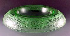 Cambridge Glass Etch 727 Green Elegant Depression Console Bowl