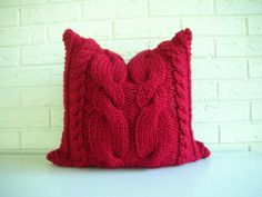Hand Knit Pillow Cover This has to be very comfy