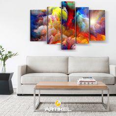 """""""Dancing Clouds"""" Kanvas Tablo ile modeli ile duvarınıza renk katın! #kanvastablo #art #artikeldeko"""