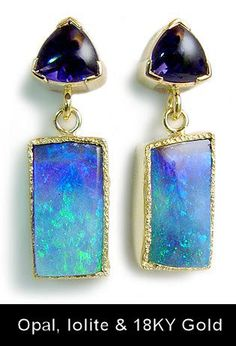 Micky Roof original Australian Opal and Iolite earrings in 14K Yellow Gold #opalsaustralia