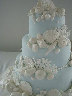 Blue And White Seashell Cake by ~xXx--Kawaii--xXx on deviantART Pretty Cakes, Beautiful Cakes, Amazing Cakes, Beautiful Beach, Pretty Beach, Seashell Cake, Seashell Wedding, Wedding Beach, Trendy Wedding