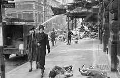 Mannequins are blown onto the pavement after a bombing raid on Piccadilly in London during the first phase of the blitz in October 1940. London was bombed for 76 consecutive nights by the Luftwaffe.