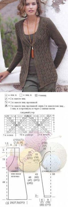 knitting pattern cardigan... ♥ Deniz ♥ Cardigan Pattern, Crochet Cardigan, Knit Crochet, Best Cardigans, Knitted Cape, Poncho, Knit Fashion, Lace Knitting, Knitting Designs