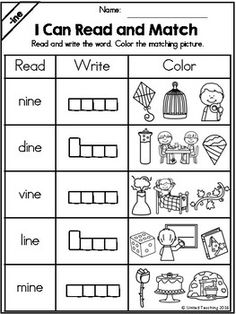 1st Grade Reading Worksheets, English Worksheets For Kids, Phonics Reading, Teaching Phonics, Kindergarten Writing, Preschool Worksheets, Teaching Reading, Reading Comprehension, Literacy