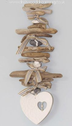 Driftwood Mobile...with raffia instead of ribbon