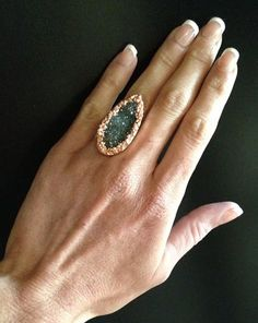 Ring- Druzy Raw Gemstone Copper Cocktail Ring, Statement Ring, Natural Crystal Ring, Stackable Ring,Earthy, Chunky Ring, Quartz Ring, Size 6...