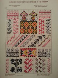 Stickerei aus Bukowina Embroidery Sampler, Folk Embroidery, Cross Stitch Borders, Cross Stitch Patterns, Ikat Pattern, Costume Patterns, Patterned Carpet, Filet Crochet, Handicraft