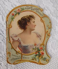 Antique Victorian Figural 1895 Corset Advertising The Glove Fitting Corset Booklet Color Chromos Roses Ladies