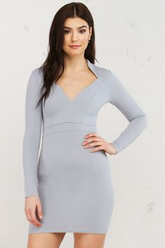 The Day Youre Mine Long Sleeve Dress (Get the Look at www.shopakira.com) #shopAKIRA #dress #dresses #cutedress #cuteoutfits #greydresses #grey #longsleeve #longsleevedress