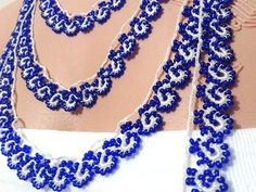 Vintage Beaded Necklace,Traditional Beaded Necklace,Crochet Bead Lace,Anatolian Beaded Trim,Womens Accessories,Oya Bead Lace,long necklace
