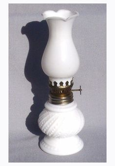 Vintage Milk Glass Oil Lamp