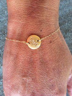 Etsy listing at https://www.etsy.com/listing/130878684/gold-monogram-bracelet-initial-bracelet
