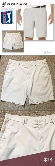 "🎉 HP🎉 Perry Ellis PGA Moisture Wicking Shorts These moisture wicking performance shorts by PGA Tour (mfg'd by Perry Ellis) are in amazing condition. Button and zip front closures. Color is called Silver Lining which is a very light cream. Size 40 waist with 10"" inseam. Please ask any questions before you purchase. I offer 10% off on bundles and ship daily. Happy Poshing! Perry Ellis Shorts Flat Front"