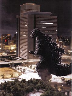 Godzilla clears his head in the park (1984)