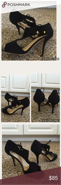 Kate Spade Black Suede  shoes Amazing Kate spade  black pumps with tie- able bow on the side, open toe size 8 1/2 normal  signs of wear, great good condition worn 3 times, made in Italy. kate spade Shoes Heels