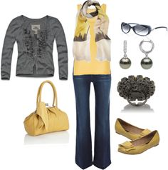 """""""Grey and Yellow"""" by kreisinger on Polyvore"""