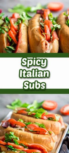 Spicy Italian subs are the perfect game day sandwich! Deli meat and provolone cheese are piled high in these thick and flavorful spicy Italian sub sandwiches! Best Sandwich Recipes, Lunch Recipes, Beef Recipes, Cooking Recipes, Sandwich Ideas, Kitchen Recipes, Recipes Dinner, Fun Easy Recipes, Wrap Recipes
