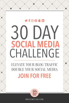 Wondering why your social media following is at a standstill? What about your blog traffic? Not budging? Join my FREE 30-Day Social Media Challenge to change that! https://hollymccaig.com/get-more-blog-traffic/?utm_campaign=coschedule&utm_source=pinterest&utm_medium=Holly%20McCaig%20Creative&utm_content=How%20to%20Get%20More%20Blog%20Traffic%20Using%20Social%20Media%20-%20Holly%20McCaig