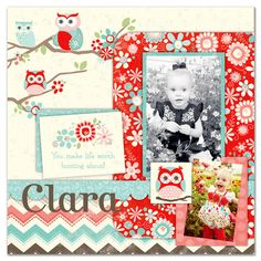 Layout: Clara featuring the Coral Nested Owl Collection from Adornit