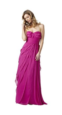 Love this too.          Style#: 091864000          Colors: Fuschia, Carnation          Description: Strapless Flutter Gown                    Sizes: M (2-16), P (2-14), W (14-22)