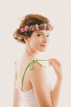 Natural bridal crown Boho flower wreath Woodland by whichgoose