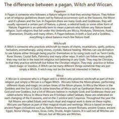 The difference between a Pagan, a Witch, & a Wiccan