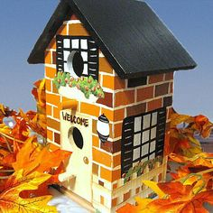 Brick House Hand Painted Birdhouse by PaintBrushedBoutique on Etsy, $47.00