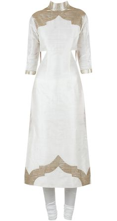 Ivory and gold kurta set available only at Pernia's Pop-Up Shop. PERNIA QURESHI >>