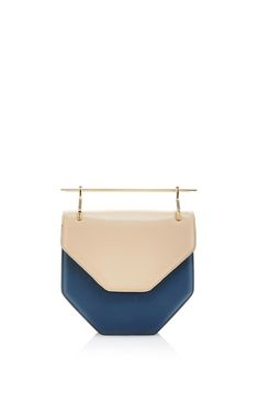 Amor Fati Shoulder Bag In Sand & Blue Calf Leather by M2Malletier for Preorder on Moda Operandi