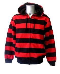 Mens Striper Hoody Red.   Cosy hoody thats stripy with the classic beano look!   Just look at the features that make it outstanding value: Fleece like softness inside. Front pockets Cotton lined hood. Made from 80% cotton and 20% polyester. Front zipped fastening. Coming in 3 sizes from S-L. A great all round hoody that you will want to wear all year round!
