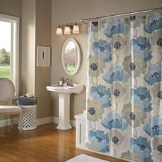 M. Style Poppies Fabric Shower Curtain