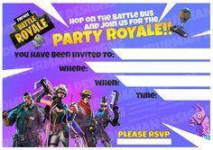 fortnite printable invite. fortnite invitation. fortnite