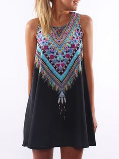 Black Tribal Print Sleeveless Dress