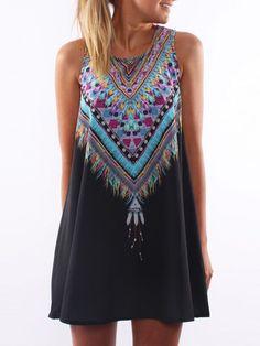 Black Tribal Print Sleeveless Dress | Choies
