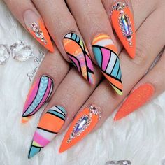Abstract neon nail art by @fusionnails