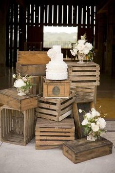 box crates as table stands beautiful for a wedding arrangement