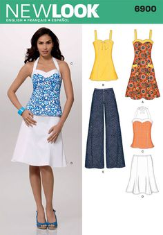 New Look 6900 from New Look patterns is a Misses Dress, Tunic or Top, Skirt and Pants sewing pattern