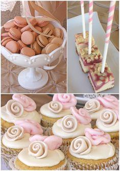 romantic bridal shower dessert table