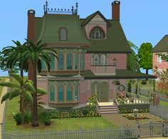 The Sims 4 Lots, Sims 4 House Design, Sims Building, Sims 4 Houses, Desiderata, Sims 1, Victorian Design, Pink Houses, Spring Time