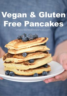 These vegan and gluten free pancakes are so delicious your family will love them. They are perfect for a special breakfast! Modify them to make paleo. Gourmet Recipes, Cookie Recipes, Vegan Recipes, Cod Recipes, Cabbage Recipes, Steak Recipes, Rice Recipes, Potato Recipes, Casserole Recipes