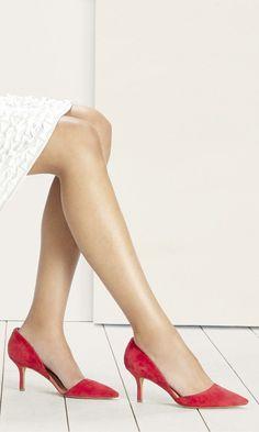 Suede d'Orsay mid heel in hibiscus red