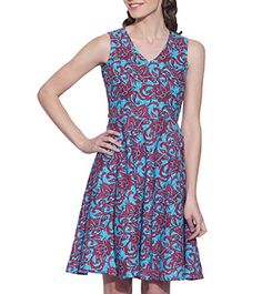Womens Apparel Fashions  Cotton Sleeveless Vneck Lotus Printed DressSize 44 ** You can get additional details at the image link.  This link participates in Amazon Service LLC Associates Program, a program designed to let participant earn advertising fees by advertising and linking to Amazon.com.