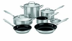 Cuisinart GGT10 GreenGourmet TriPly Stainless 10Piece Cookware Set -- Details can be found by clicking on the image. (Amazon affiliate link)