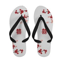 Red Cherry Blossoms Double Happiness Chinese Wedding Custom Flip Flops Sandals Modern Stylish Custom Chinese Oriental Asian by fatfatin at Zazzle.com
