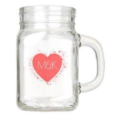 #monogrammed - #Red Heart & Love Monogram Mason Jar