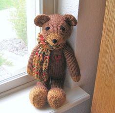 Plush Teddy Bear, Hand Knitted Toy, Baby, Stuffed Animal, Knit Animal, Children