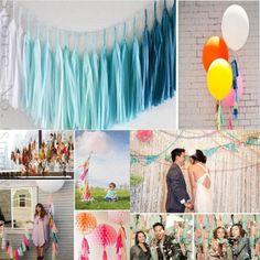 OnnPnnQ 5 Pcs Tissue Paper Tassel Garland Diy Wedding Decoration Paper Flower Decorations Birthdays Party Decorations Event