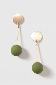 Khaki Rubbber Ball Drop Earrings
