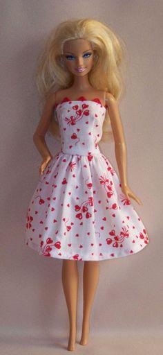 Handmade Barbie Clothes Valentine White with by PersnicketyGrandma, $4.00
